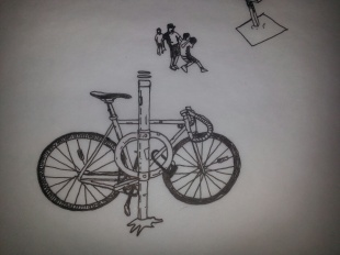 Drawings for the bike and basketball court - by Paige Guggemos