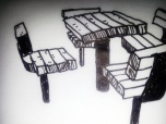Sketches of the unique Stevens Square picnic tables - by Paige Guggemos