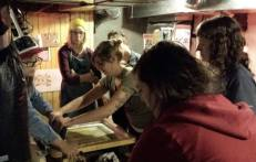 Here's Kate printing with some teamwork help - we were using Gold which wasn't working very well for us.